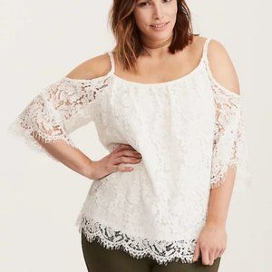 Torrid White Cold Shoulder Blouse w/ Lace Overlay